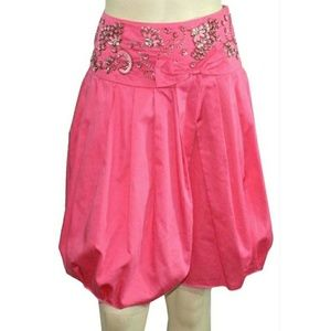 Free People Pleated Beaded Sequined Fray Skirt